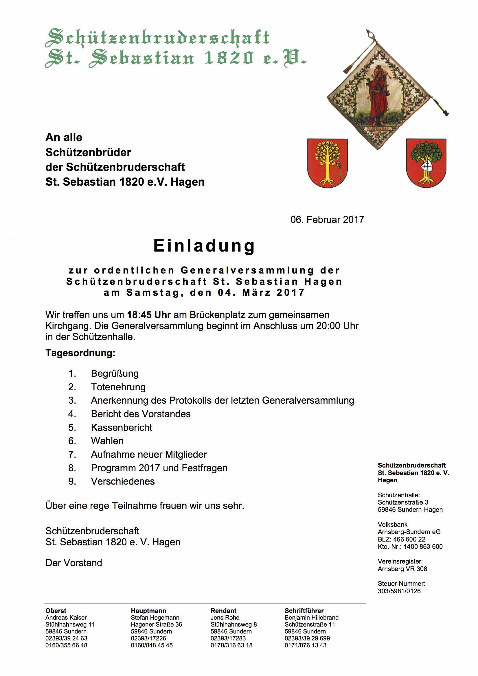 Einladung Zur Generalversammlung 2017
