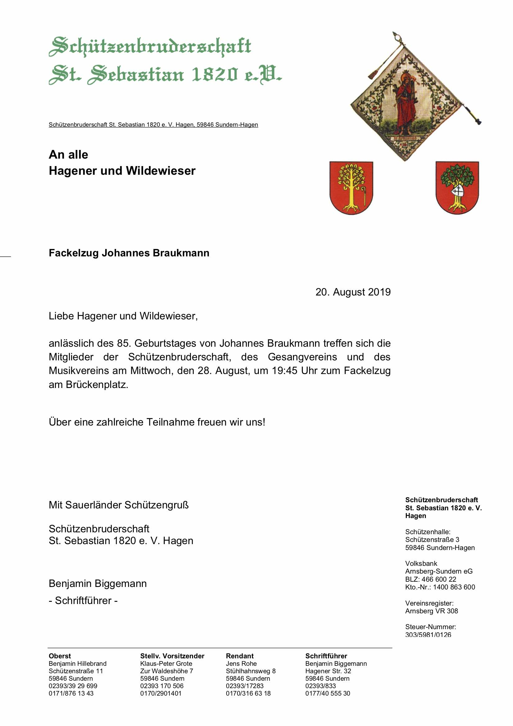 Fackelzug 85.Geburtstag Johannes Braukmann
