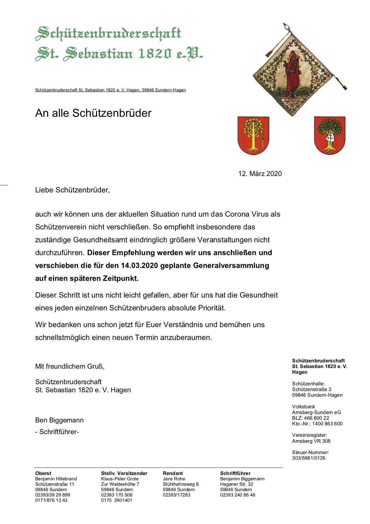 Generalversammlung Wird Verschoben